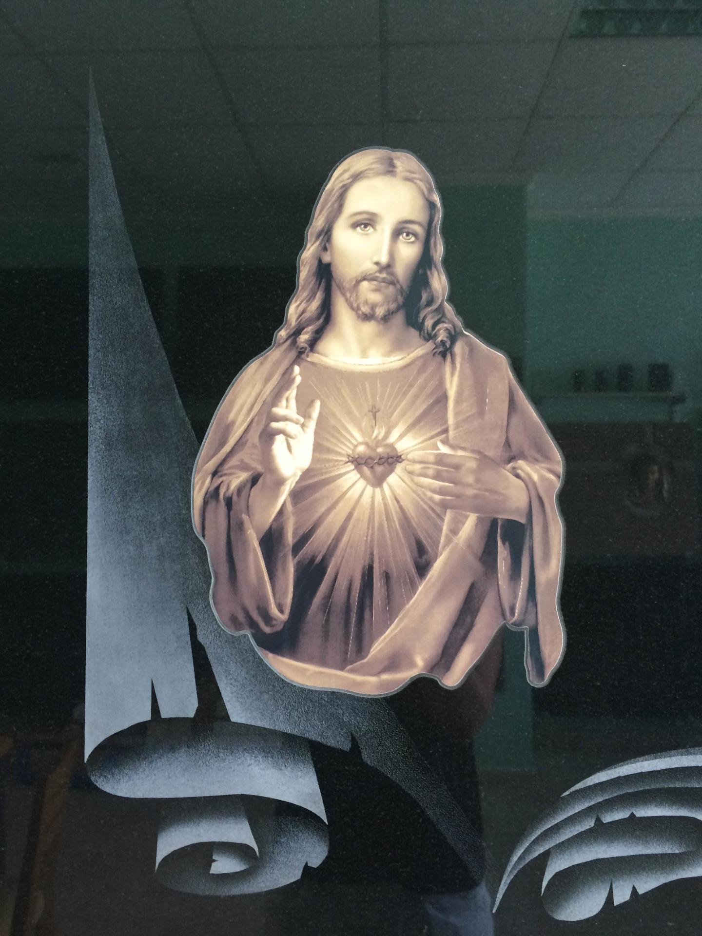 Lapida incrustacion Corazon de Jesus