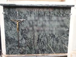 Lapida con cruz Inox cristo en bronc