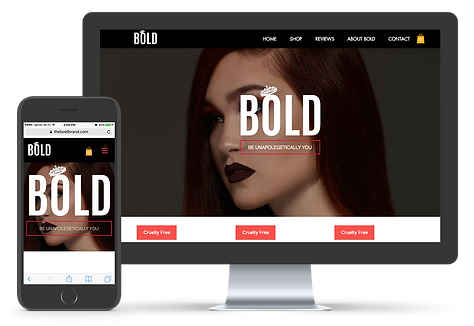 iMac, iPhone mock up of The Bold Brand e-commerce website