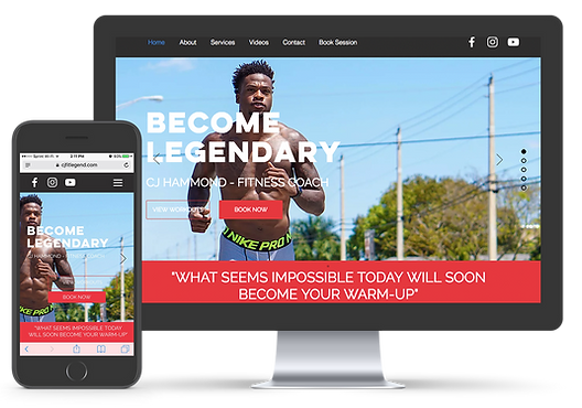 Modern one page website in iMac , iPhone mock up for CJ Fit Legend