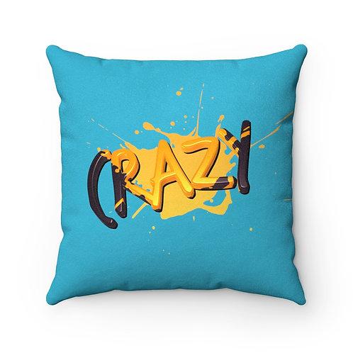 Crazy Paint Splatter - Teal Faux Suede Square Pillow