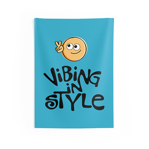 Peace, Vibing in Style - Indoor Wall Tapestry
