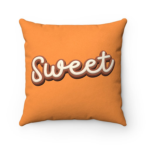 Sweet Frosted Cake - Orange Faux Suede Square Pillow
