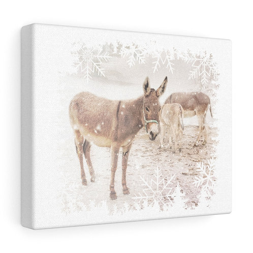 """Donkeys in the Snow - 8"""" x 10"""" Canvas Gallery Wraps"""
