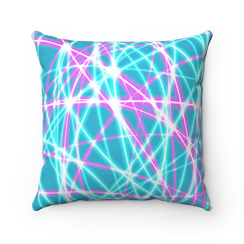 Teal Light Swirls - Faux Suede Square Pillow Case