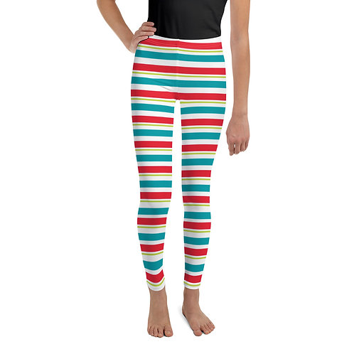 Elf Youth Leggings - Red, White, Teal & Green