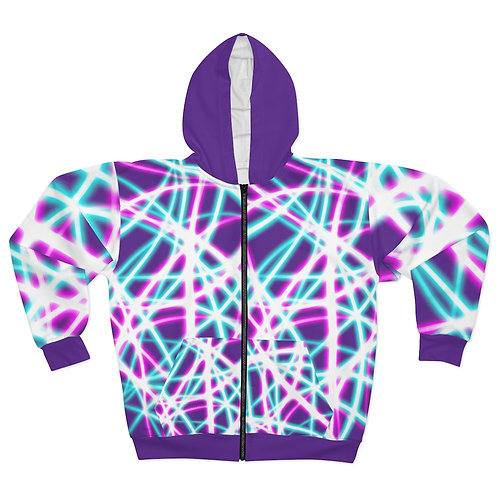 Light Swirls, Purple - Unisex Zip Hoodie