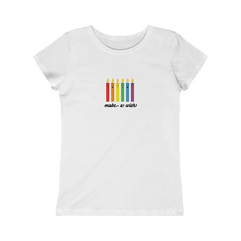 Make A Wish - Rainbow Candles - Girls Tee