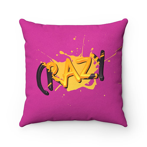 Crazy Paint Splatter - Hot Pink Faux Suede Square Pillow