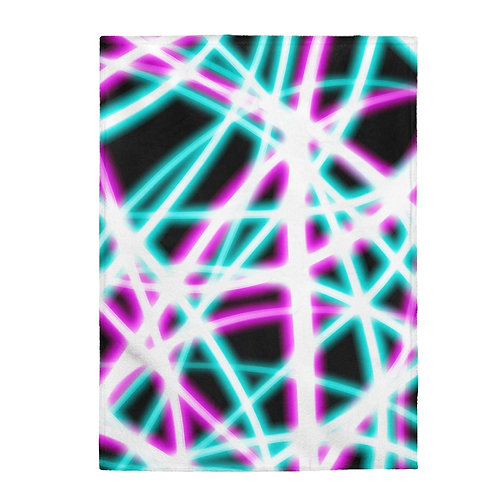 Light Swirls, Black - Velveteen Plush Blanket