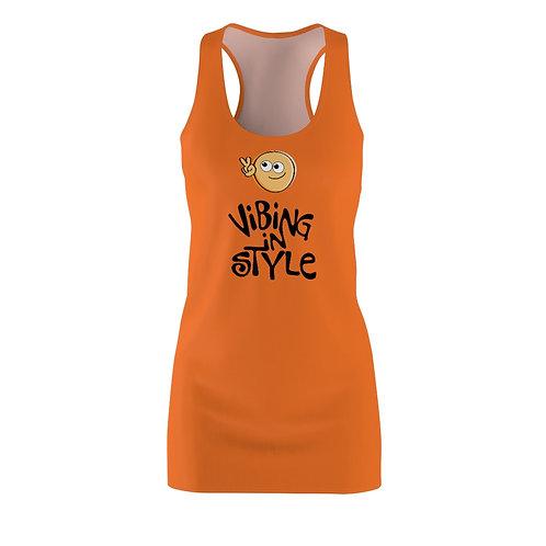 Peace, Vibing In Style - Women's Racerback Dress, Orange