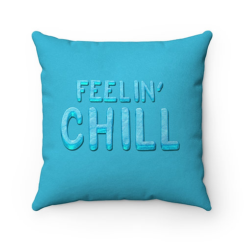 Feelin' Chill - Teal Faux Suede Square Pillow