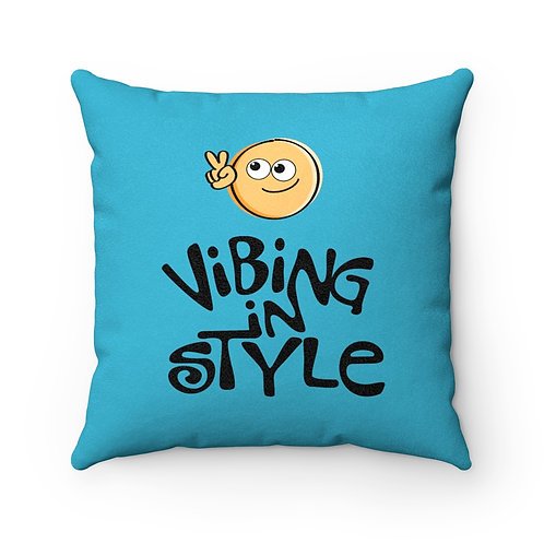 Peace, Vibing in Style - Square Pillow Case, Faux Suede, Teal