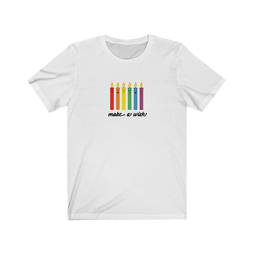 Make a Wish - Rainbow Candles - Unisex Jersey Tee
