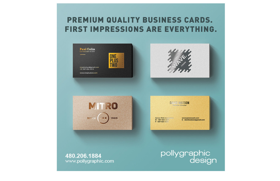Business Cards with Foil, Spot UV, Satin or Suede Finishes