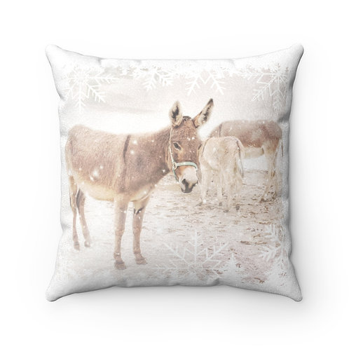 Donkeys in the Snow - Faux Suede Square Pillow