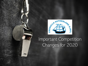 Important Competition Changes for 2020
