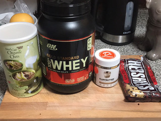 Tasty Breakfast or Post workout Chocolate Protien & peanut butter Oats with chocolate chips.