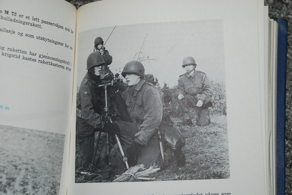 This photo shows Norwegian soldiers from the Norwegian Navy with a 81mm Mortar. They can be seen wearing the LFC carrier, 1973.
