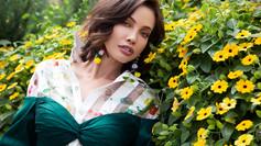Model/Actress Stephanie Corneliussen wearing Joyce Penas Pilarsky