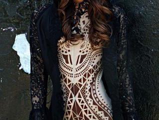Ford Model: Victoria Peyser wearing Joyce Penas Pilarsky Black Hooded Cloak
