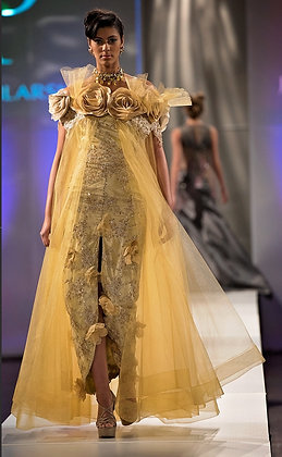 Gold Tafetta Tulle Lace Dress