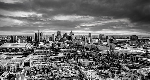 "Detroit Skyline Black and White 16"" x 44"""