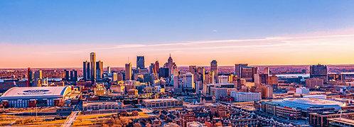"Detroit Skyline Canvas 16"" x 44"""