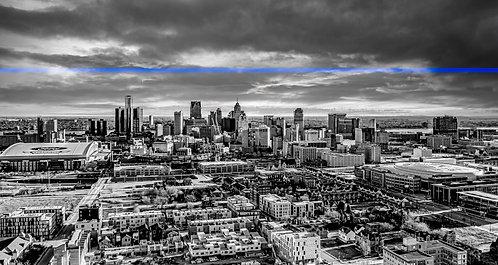 """Detroit Thin Blue Line Canvas 16"""" x 44"""""""