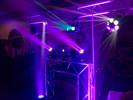 RipTide Productions light and DJ setup at party.