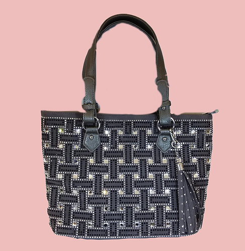 Gray Tote with Rhinestones
