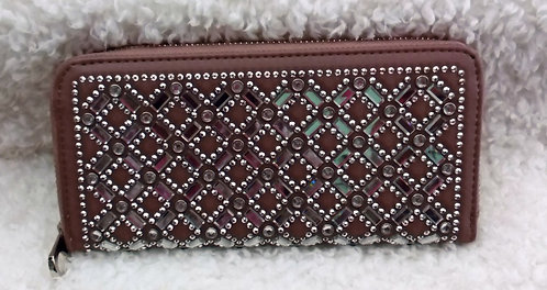Taupe Clutch Wallet with Rhinestones
