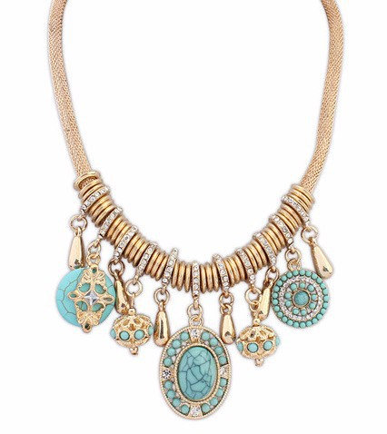 Turquoise and Gold Dangle Necklace