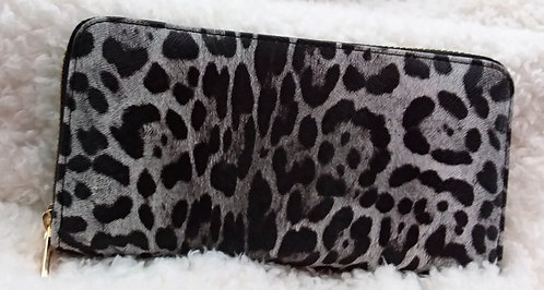 Black and White Leopard Print Wallet