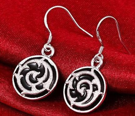 STERLING SILVER & BLACK DANGLE EARRINGS