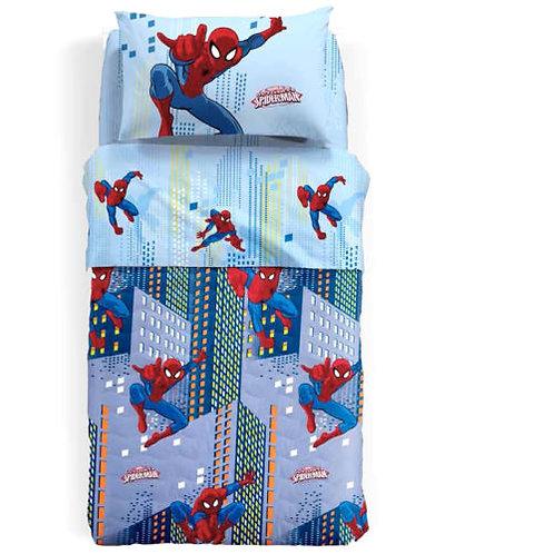 "Completo lenzuola 1 p.za e mezza Caleffi Spider-Man mod.""Sky"""