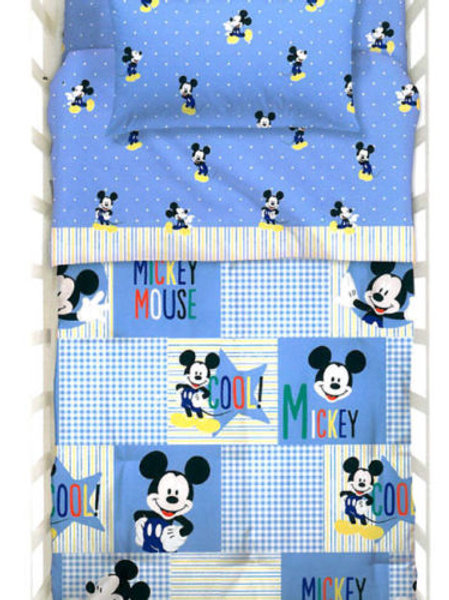 "Completo lenzuola lettino Caleffi mod."" Mickey Forever"""