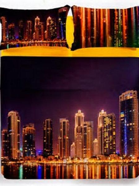 """Completo lenzuola copriletto 1 p.za e mezza Caleffi mod.""""Dubai by night"""""""