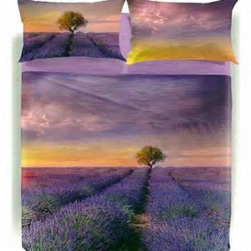 "Completo lenzuola copriletto matrimoniale Caleffi mod. ""Lavender Sunset"""