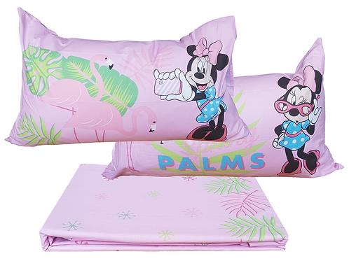 """Completo letto/lenzuola 1 piazza e mezza Caleffi mod. """"Minnie Palm Spring""""."""