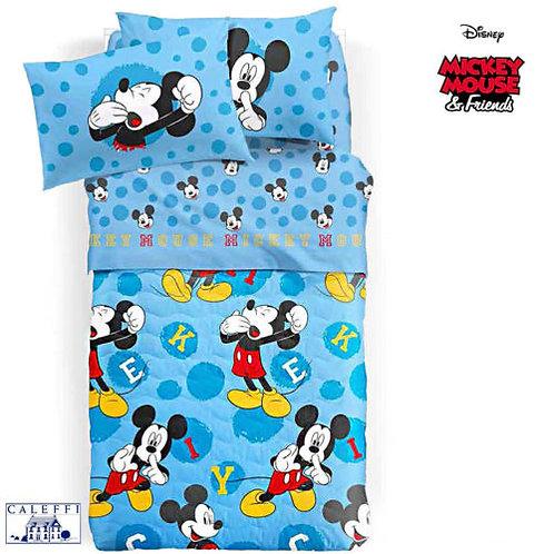 """Completo lenzuola 1 p.za e mezza Caleffi mod.""""Mickey Mouse"""""""