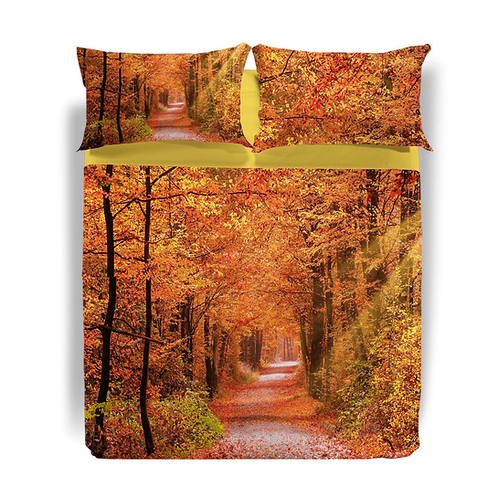 "Completo lenzuola copriletto matrimoniale Caleffi mod. ""Autumn Leaves"""