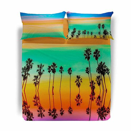"Completo lenzuola copriletto matrimoniale Caleffi mod. ""Beach Palms"""""