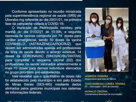 COVID-19 - Pedrinópolis recebe segunda remessa de vacinas