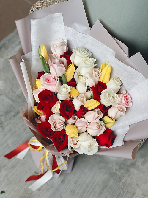 Deluxe Kenya Roses & Tulips