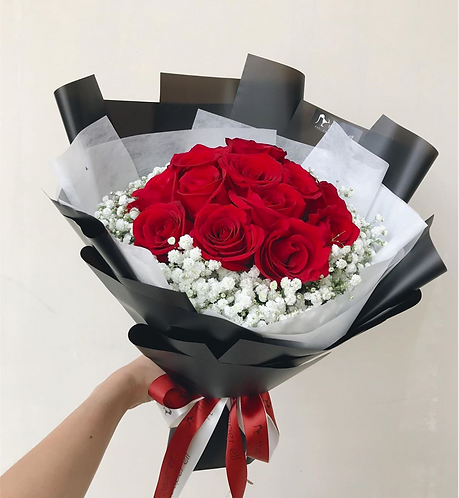 20 Red Roses & Baby's Breath