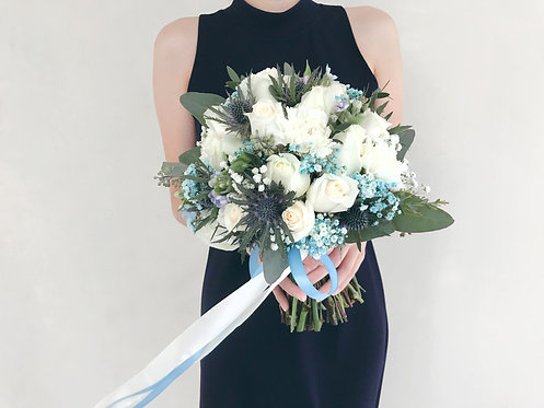Bridal Bouquet - White and Blue