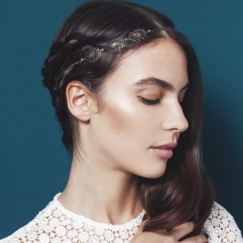 headband-ondine-triple-rosace-et-perles-vertes
