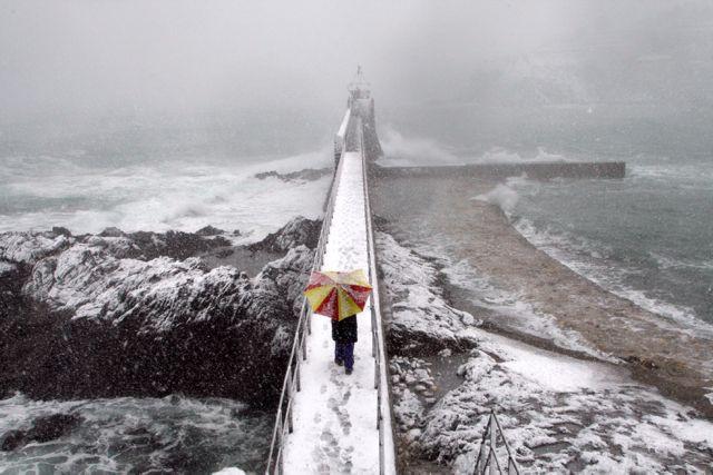 FRANCE-WEATHER-SNOW-COLLIOURE