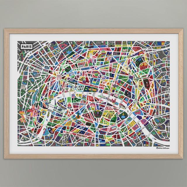 Paris-Illustrated-Map_Antoine-Corbineau_Wall-1000px